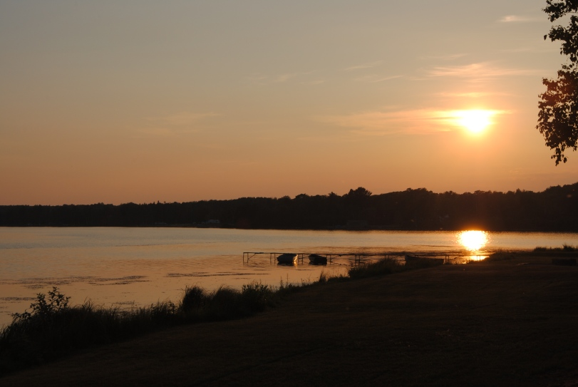 Sunset over the Lake on the shores at the Birch Lodge